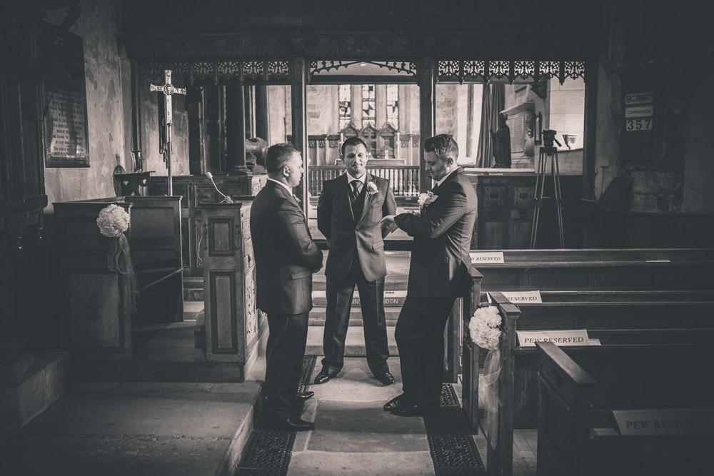 sandon hall wedding groomsmen waiting
