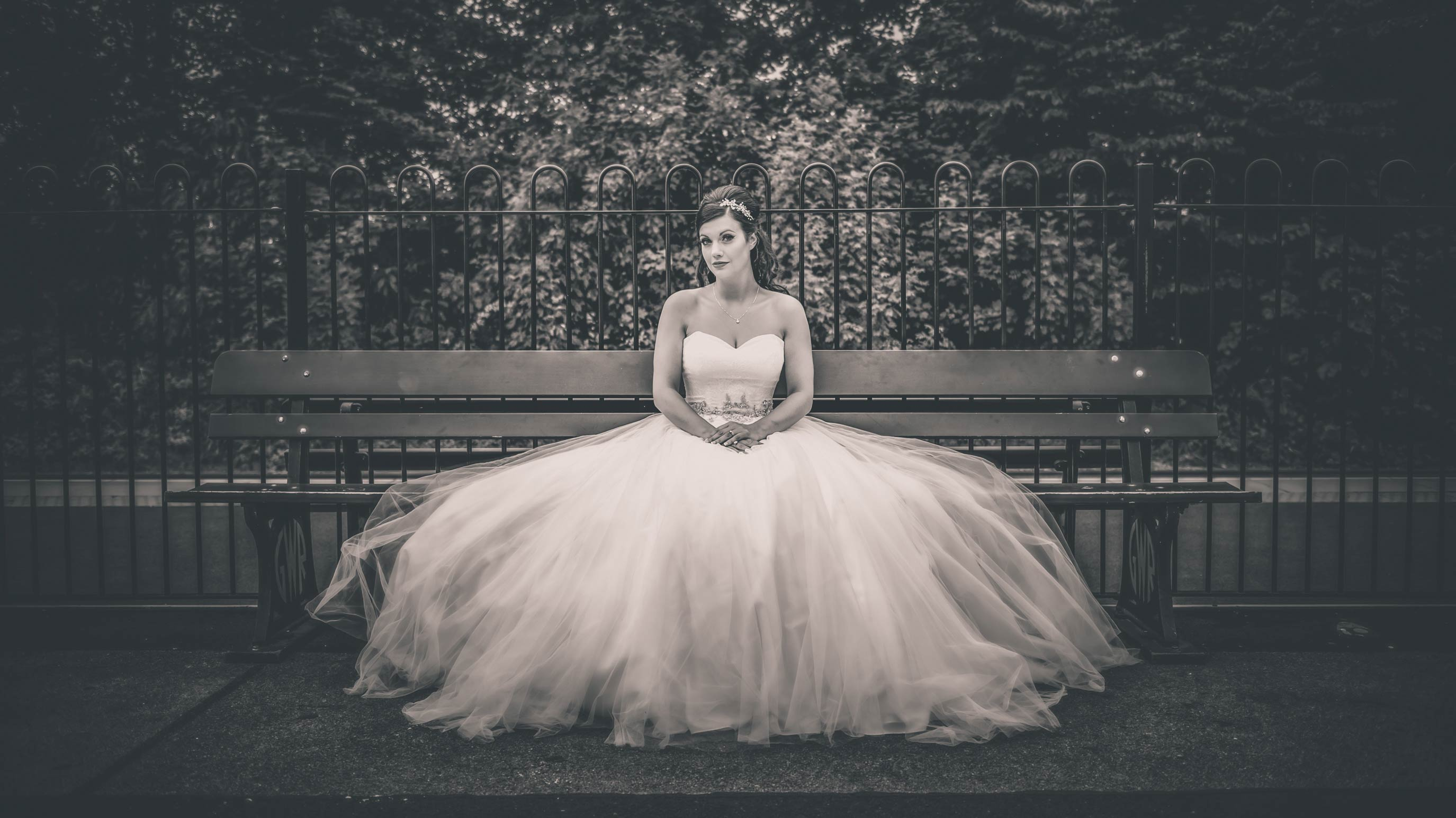 Relaxed wedding photography Solihull - Bridal Portrait sitting with flowing dress